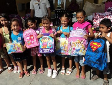 Cabo San Lucas Mexio Site Visit Volunteer Event Elementary School Backpack Giveaway