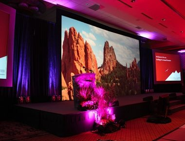 Conference Ballroom Stage Set Denver Colorado Omni Interlocken Hotel Garden of the Gods