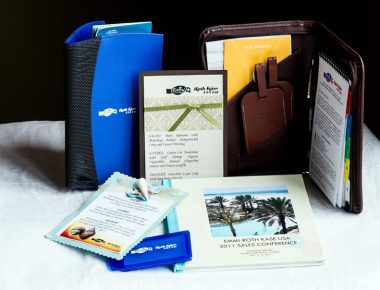 Corporate Annual Conference Giveaways Padfolio Menu Doorhangers Name Badge Custom Lunch Bag