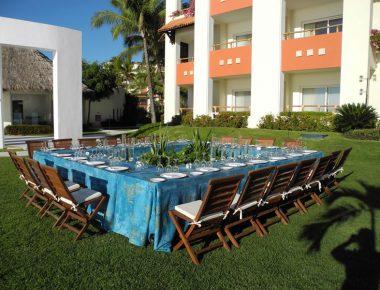 Corporate Incentive Trip Private Group Dinner Grand Velas Resort Lawn Puerto Vallarta Mexico