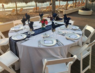 Corporate Incentive Trip Table Setting Beach Location Puerto Vallarta Mexico