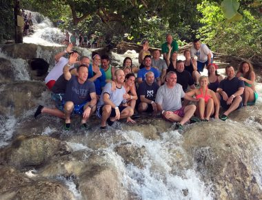 Corporate President's Club Incentive Trip Dunns River Falls Jamaica Group Photo